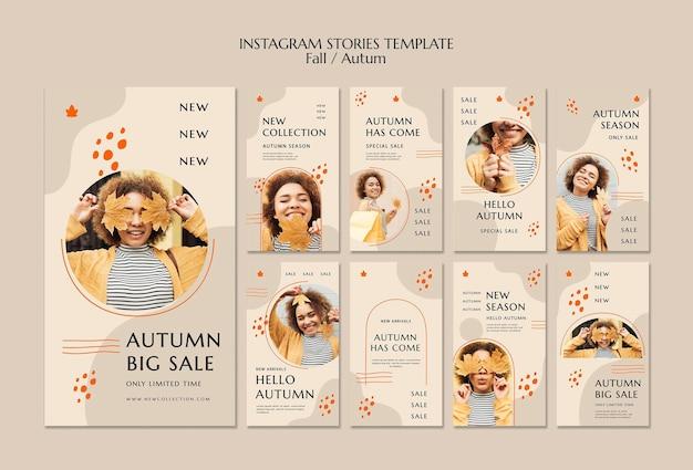 Coleção de histórias do instagram para venda de outono