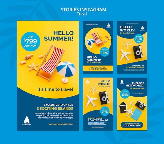 Coleção de histórias do instagram para viagens de férias