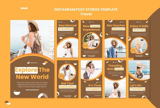 Coleção de histórias do instagram para viajar com mulheres