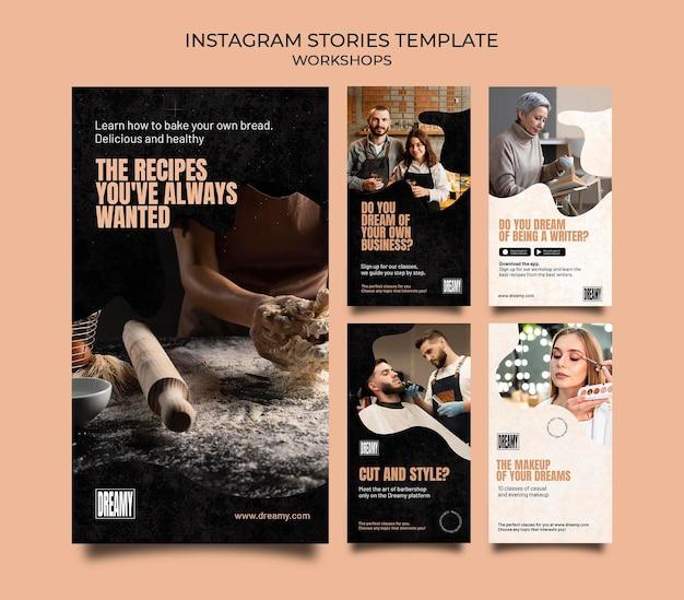 Coleção de histórias do instagram para workshops e aulas de profissão
