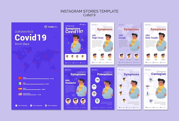 Coleção de histórias do instagram sobre covid19