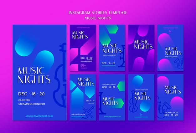 Coleção de histórias gradientes do instagram para festivais de noites de música