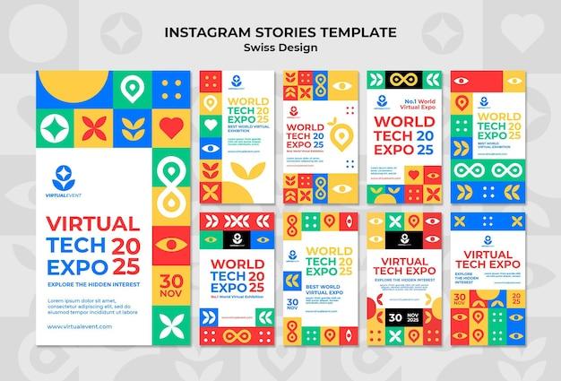 Coleção de histórias instagram de design suíço