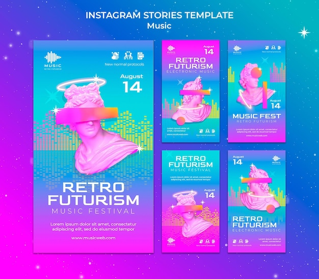 Coleção de histórias retro futuristas do instagram para festival de música
