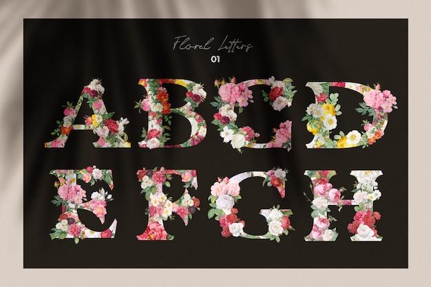 Coleção de letras florais