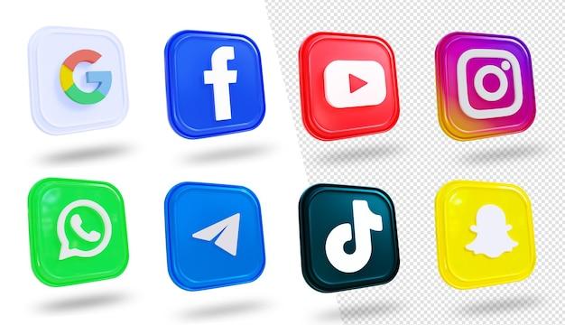 Coleção de logotipo de mídia social de ícones de mídia social 3d