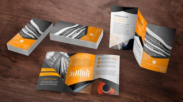 Coleção de maquete de brochura com três dobras