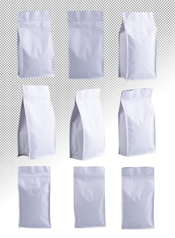 Coleção de maquete de modelo de embalagem de saco de papel plástico de folha zip branco em fundo alfa