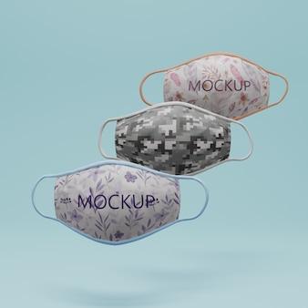 Coleção de máscaras faciais com conceito de mock-up