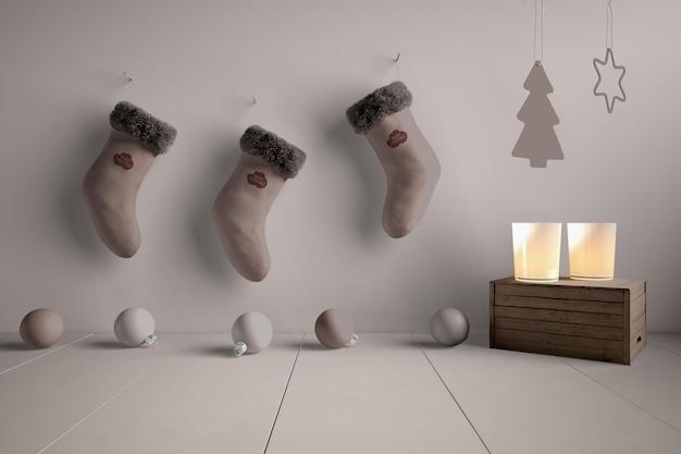 Coleção de meias mock-up enganchada na parede