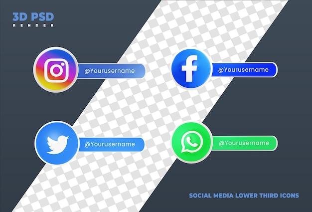 Coleção de mídia social, terço inferior, ícone de renderização em 3d, crachá isolado