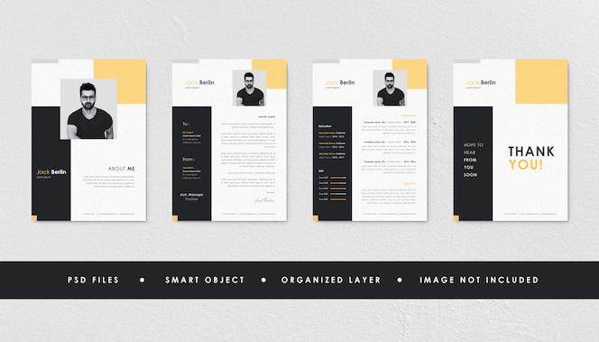 Coleção de modelo de currículo de currículo preto amarelo minimalista