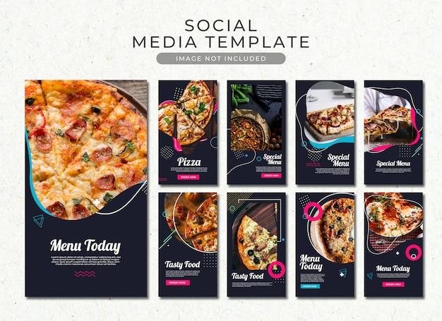 Coleção de modelo de histórias de pizza