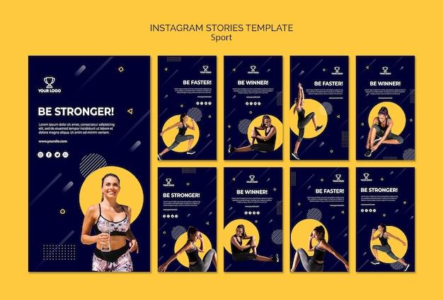 Coleção de modelo de histórias do instagram de esporte