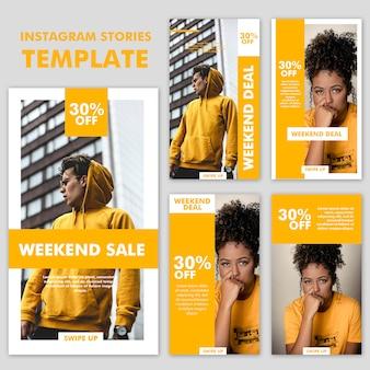 Coleção de modelo de moda de histórias do instagram