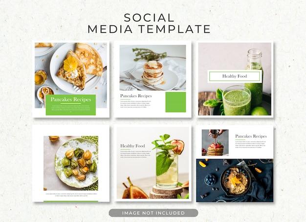 Coleção de modelo de postagem de comida saudável psd