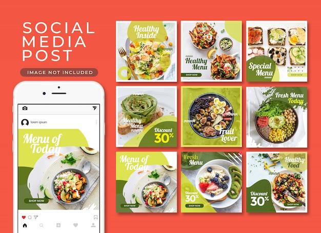 Coleção de modelo de postagem de comida saudável