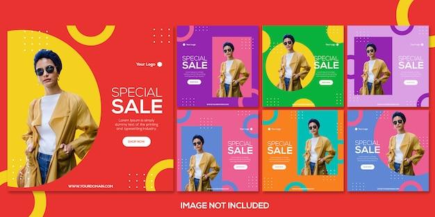 Coleção de modelo de postagem de instagram de venda de moda