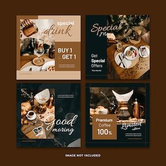 Coleção de modelo de postagem de mídia social de banner de café