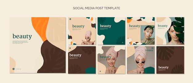 Coleção de modelo de postagem de mídia social de beleza