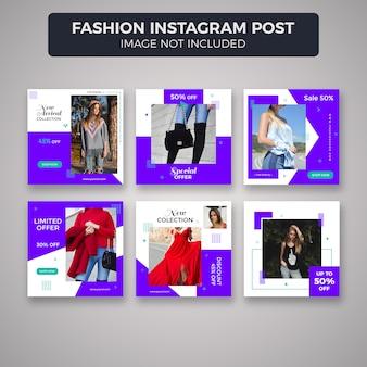 Coleção de modelo de postagem de moda instagram