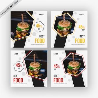 Coleção de modelo de postagens de mídia social de alimentos