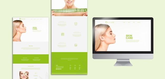 Coleção de modelo de site com o conceito de beleza