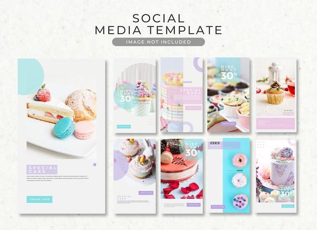 Coleção de modelo de sobremesa e bolo de história do instagram