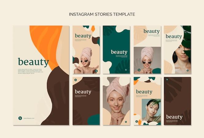Coleção de modelos de histórias de instagram de beleza