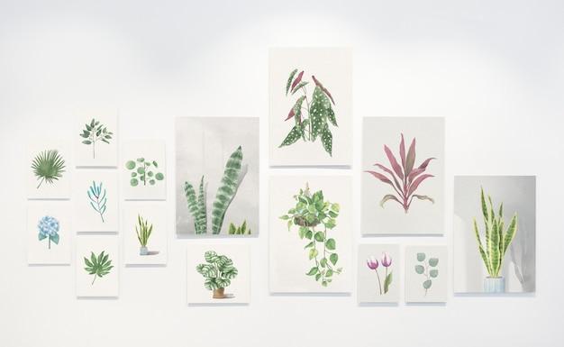 Coleção de pinturas de folha em uma parede