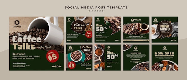 Coleção de post de mídia social de café
