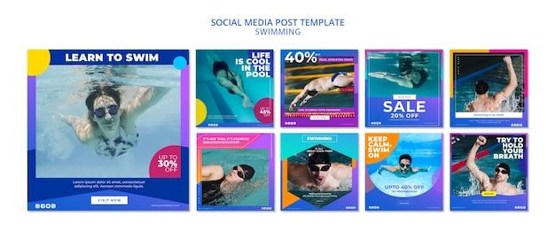 Coleção de post de mídia social de natação