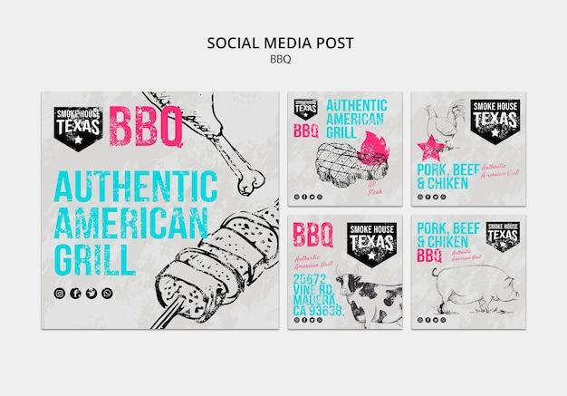 Coleção de post de mídia social para churrasco
