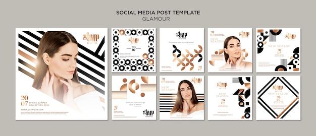 Coleção de post no instagram de glamour moderno