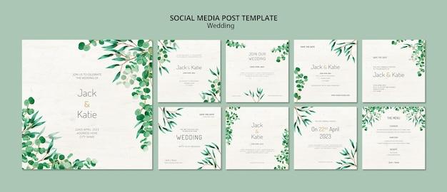 Coleção de postagem do instagram para casamento com folhas