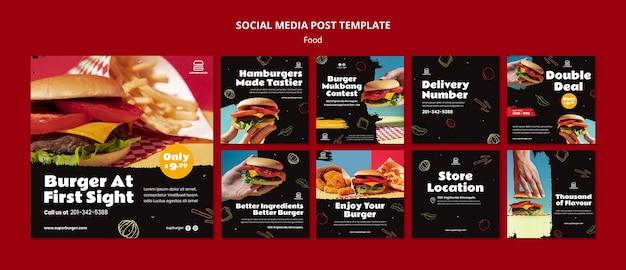 Coleção de postagens de hambúrguer delicioso nas redes sociais