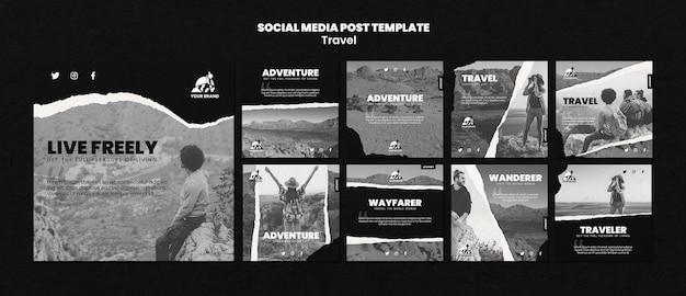 Coleção de postagens de instagram de viagens