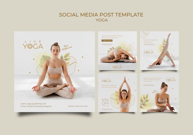 Coleção de postagens de ioga nas redes sociais