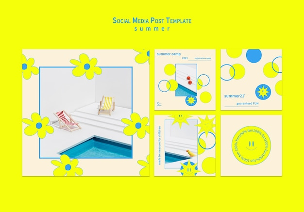 Coleção de postagens de mídia social de verão