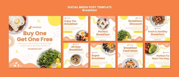 Coleção de postagens de mídia social delicioso café da manhã