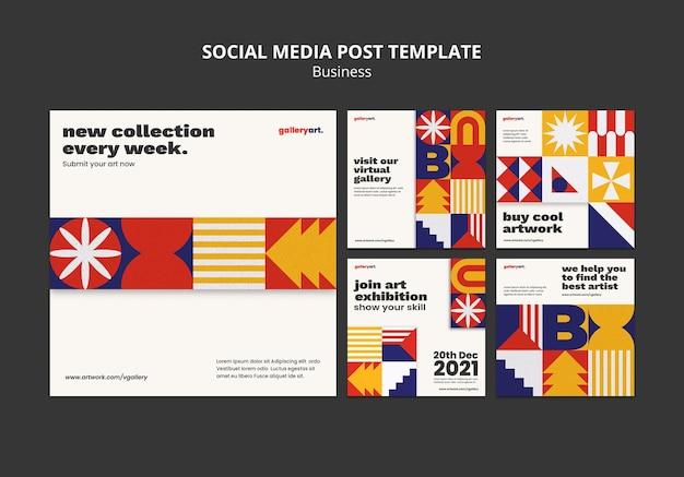 Coleção de postagens de mídia social empresarial