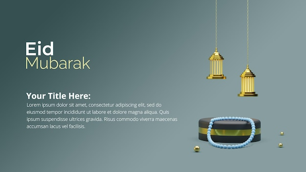 Coleção de postagens de mídia social para eid al fitr com renderização 3d do pódio