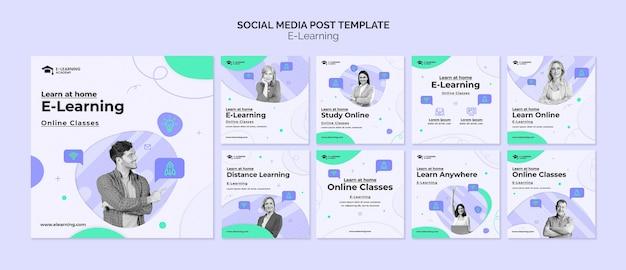 Coleção de postagens de mídia social por e-learning
