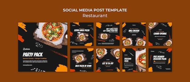 Coleção de postagens de redes sociais de restaurantes