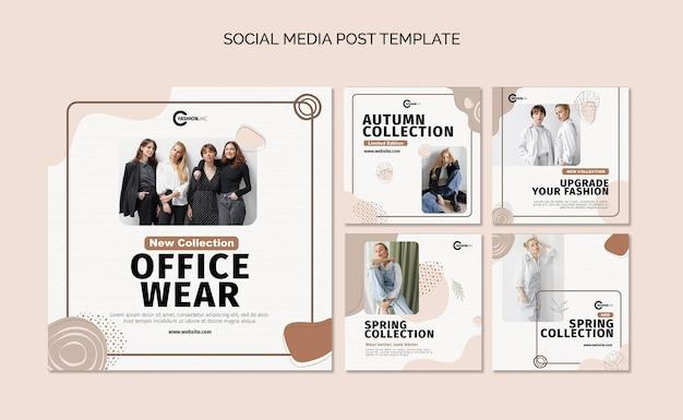 Coleção de postagens de roupas de escritório nas redes sociais