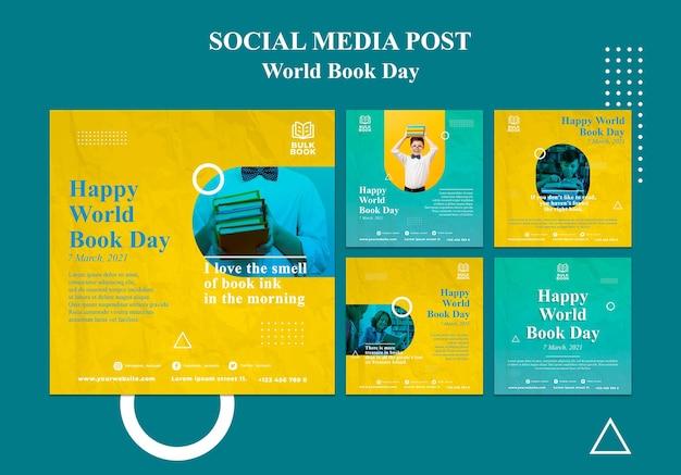 Coleção de postagens do dia mundial do livro