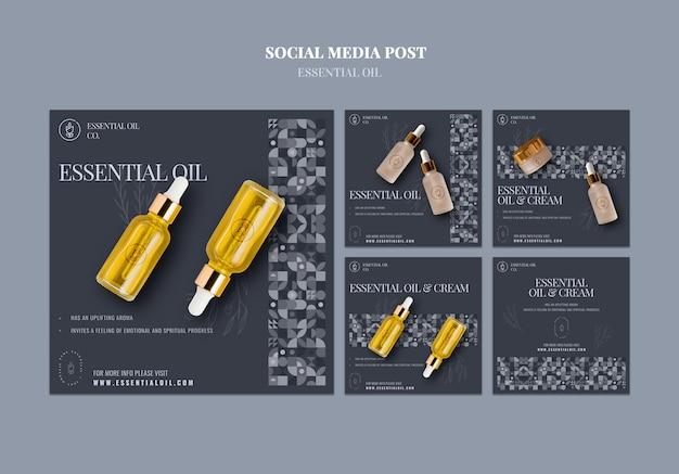 Coleção de postagens do instagram com cosméticos de óleos essenciais