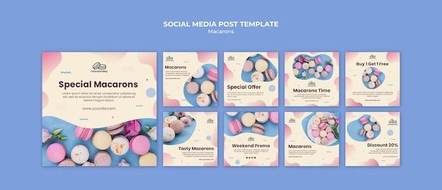 Coleção de postagens do instagram com macarons