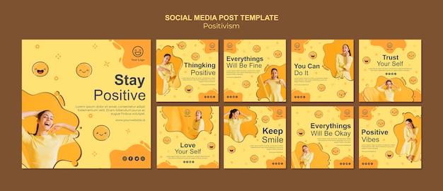 Coleção de postagens do instagram com permanecer positivo