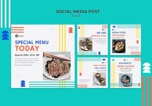 Coleção de postagens do instagram com pratos da culinária asiática
